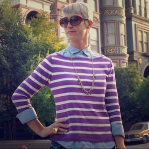 Zara purple and white striped sweater