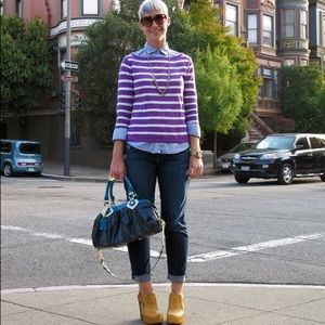 Zara Sweaters - Zara purple and white striped sweater