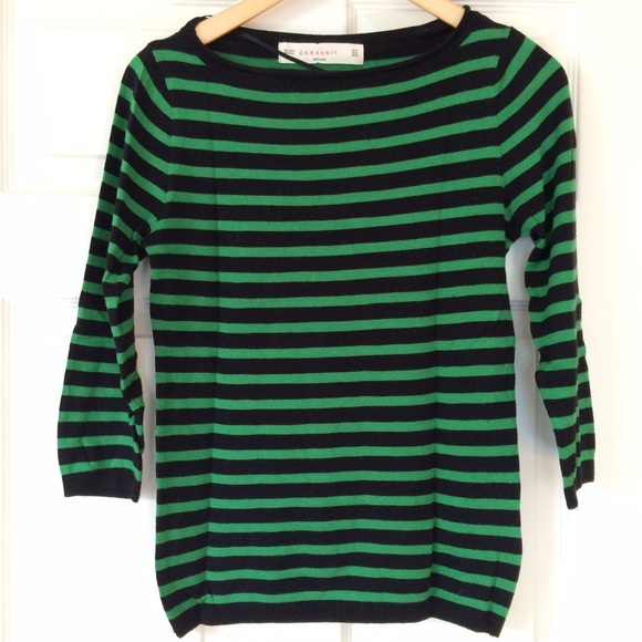 Zara Sweaters - Zara black and green striped sweater