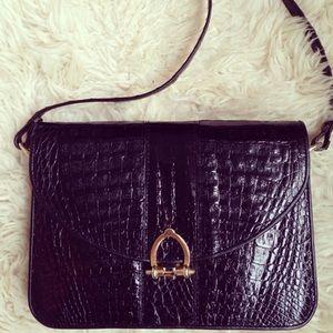 Vintage faux croc handbag