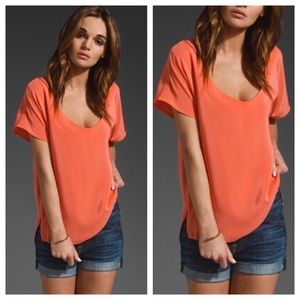 Joie Entenza Coral Orange Silk Top Sz S