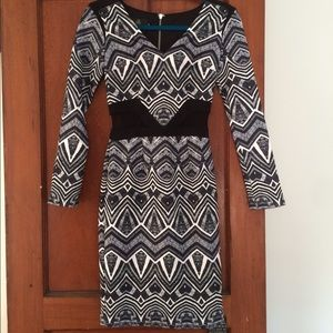 Hybrid Black and White Midi Mesh Dress