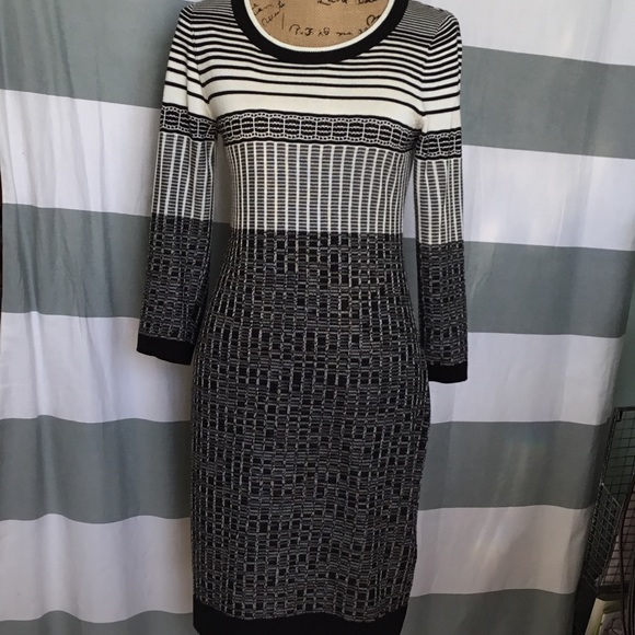 05bfb880170e8 Ivanka Trump Dresses & Skirts - Ivanka Trump B&W Sweater Dress
