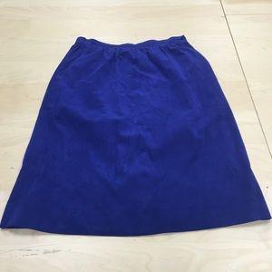 Vintage Royal Blue Suede Skirt ~Size 10