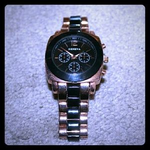 Geneva boyfriend style rose gold and black watch
