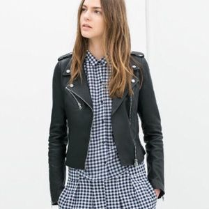 Black biker Moto jacket vegan leather