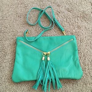 Accessories - Green Italian leather clutch and cross body bag