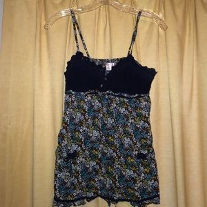 Xhilaration Lace Navy and Floral Print Tank