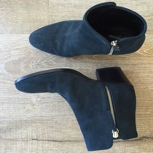 Barneys New York Shoes - Barneys New York navy suede ankle booties