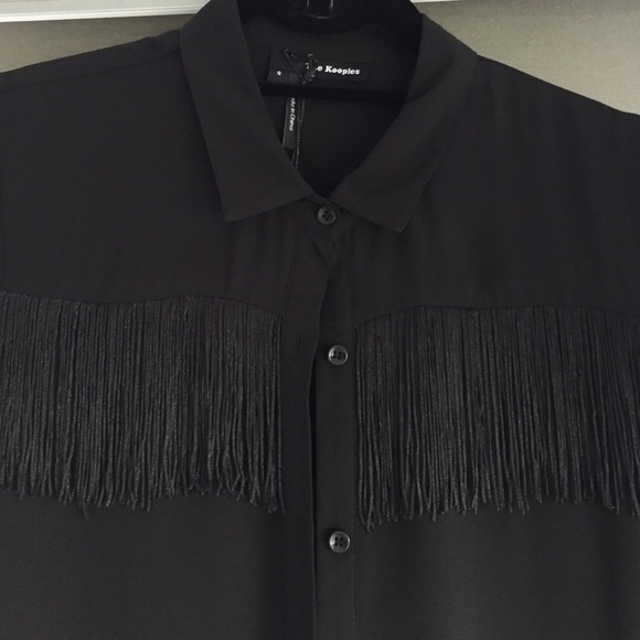 1a6cad52 The Kooples Tops | Black Crepe Fringe Shirt | Poshmark