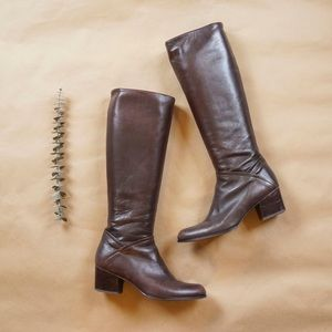 Stuart Weitzman mid heel leather boots - brown