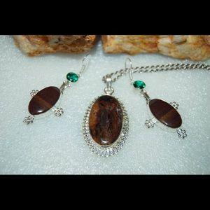 handmade& handcrafted gemstone jewelry Jewelry - Jasper Pendant & Earrings Set 925 Silver