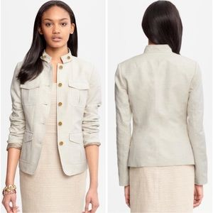 Banana Republic - Beige Linen-cotton Safari Blazer