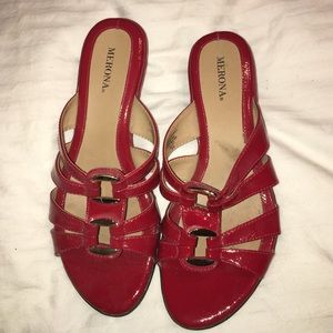 Red slip-on sandles