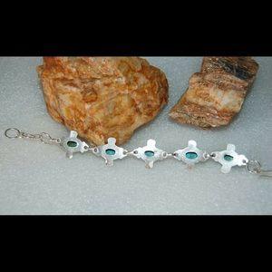 """handmade & handcrafted gemstone jewelry Jewelry - Blue Chalcedony Bracelet 925 Silver 8"""""""