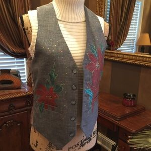 Hand painted poinsettia vest