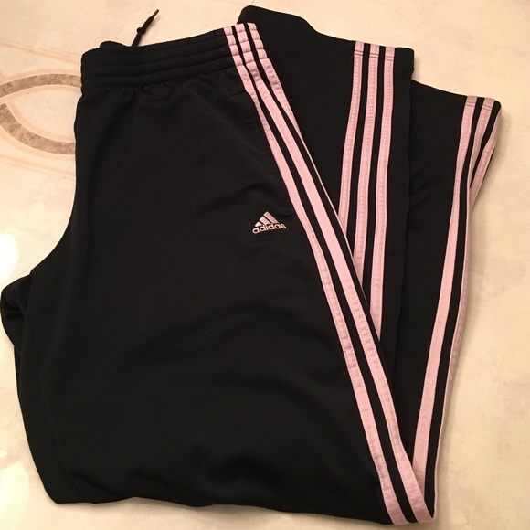 Pants Poshmark Black Track Adidas Medium Stripe Pink 4xdq4zwf