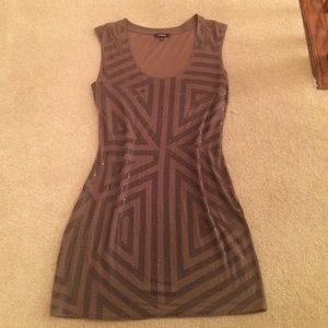 Taupe/brown Sequin - Mesh Back Dress - M