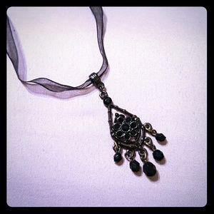 """1928"" Black Beads & Rhinestones Necklace"