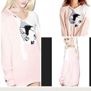 WILDFOX Sweater Loose Knit Cape Shirt Dress NWT
