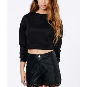 Foreign Exchange Tops - Cropped Crew Neck Sweatshirt