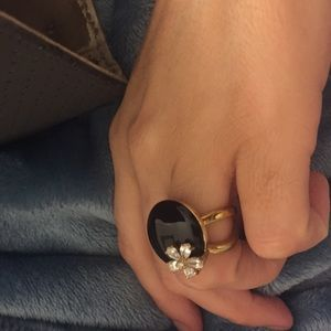 Brazil Jewelry - Gold cocktail ring with Zirconia flower