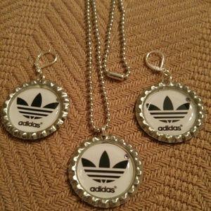Jewelry - Adidas Bottlecap Necklace & Earrings Set