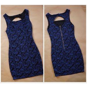 Indigo floral print mini dress with back zipper