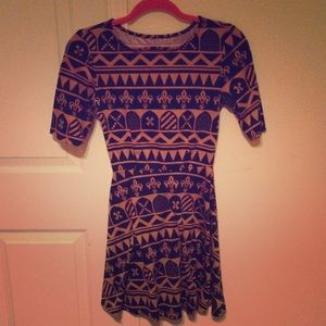 Vintage multi pattern gold & blue dress.