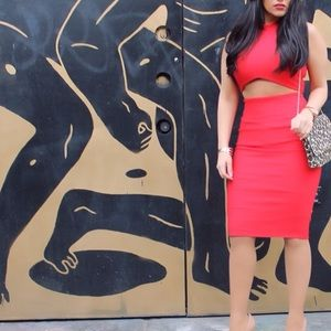 Red misguided dress