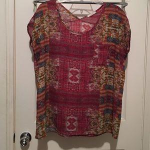Pleione blouse size M pocket front slight V back