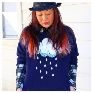 H&M Sweaters - Navy Sequin Cloud Sweater