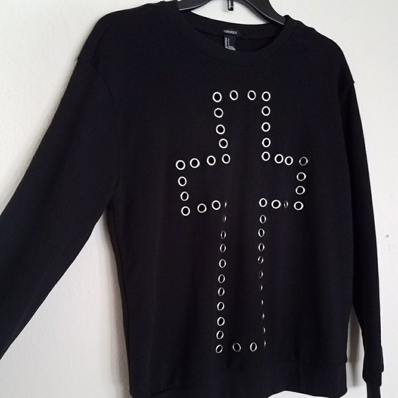 Forever 21 Sweaters - F21 Large Cross Front Black Sweater Small Gothic