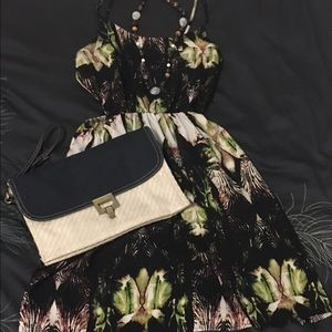 Tropical print cut-out dress
