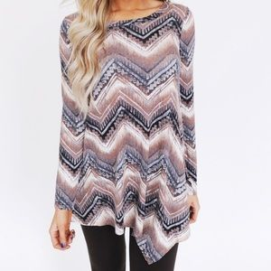1XL,2XL,3XL • mocha chevron printed loose top •