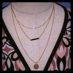 Jewelry - Three Layers Charm Gold Necklace