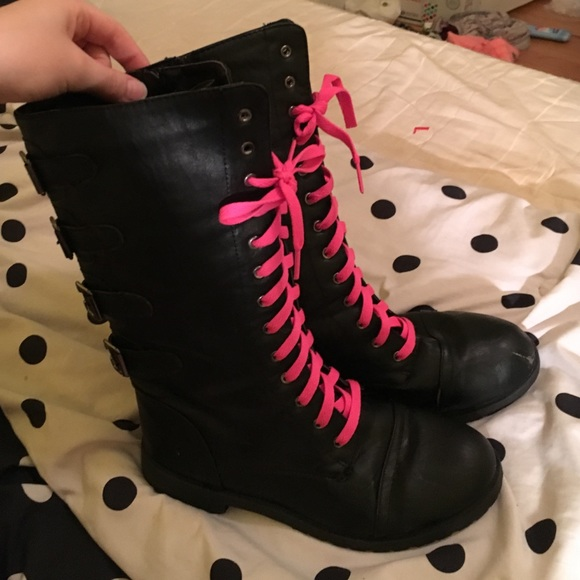 88% off Shoes - Black Combat Boots With Pink Laces from Cassidy's ...