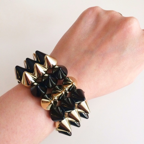 Jewelry - HALF OFF SALE |  Black + Gold Spike Cuff
