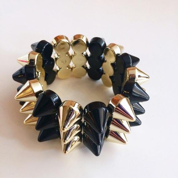 Jewelry - Black + Gold Spike Cuff