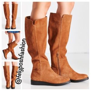 Urban Outfitters Dolly Brown Suede High Wedge Boot
