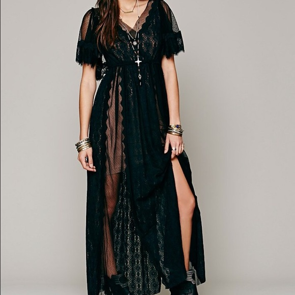 de322c18433cdc Free People Dresses & Skirts - Free People • Witchy Woman Black Lace Maxi  Dress