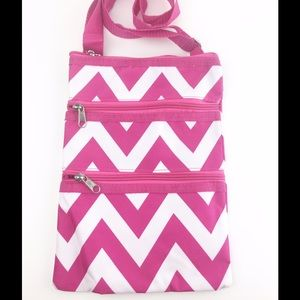 Handbags - Pink White Chevron Crossbody 3 Zipper Bag