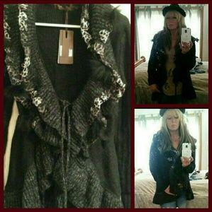 Knit Cardigan Black & Gray