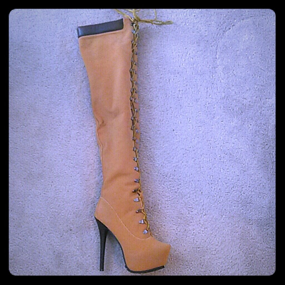 undefeated x durable service buy Thigh high work boot heels NWT