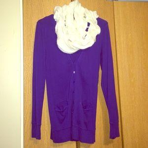 JCrew purple cardigan