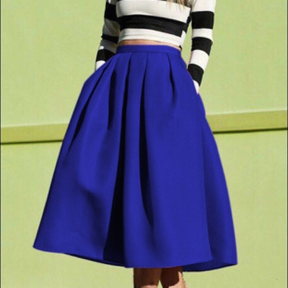 77ba9bf9fa Shein Skirts | Royal Blue Flare Pleated Midi Skirt | Poshmark