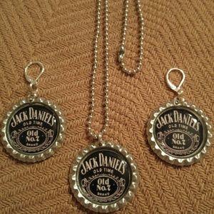 Jewelry - Jack Daniels Bottlecap Necklace & Earrings Set