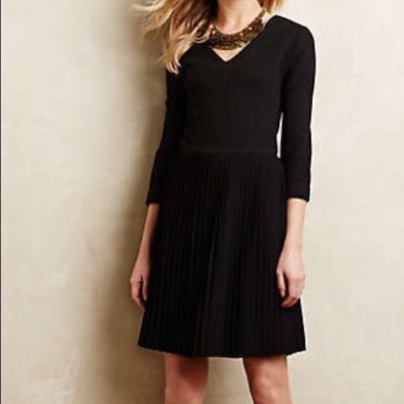 e3a8799c Anthropologie Dresses & Skirts - Anthropologie Crossknit dress Ganni black  pleats S