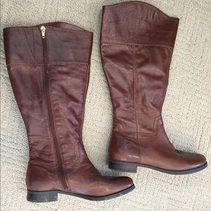 32c16ae5111 Audrey Brooke Wide Calf Tan/Cognac Riding Boots