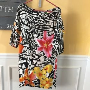 Cache tropical print silk dress